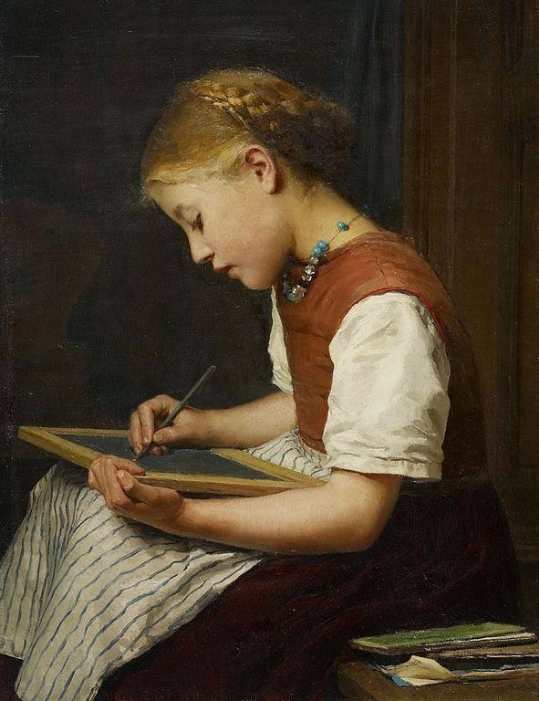 albert anker, girl writing,5 stars worthy