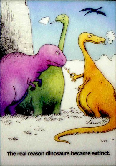 far side dinosaurs smoking