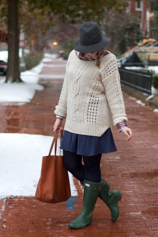 snow day, hunter rainboots, aeropostale, cable knit, madewell, transporter tote