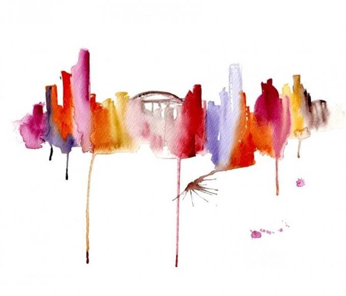 watercolor cityscape sydney