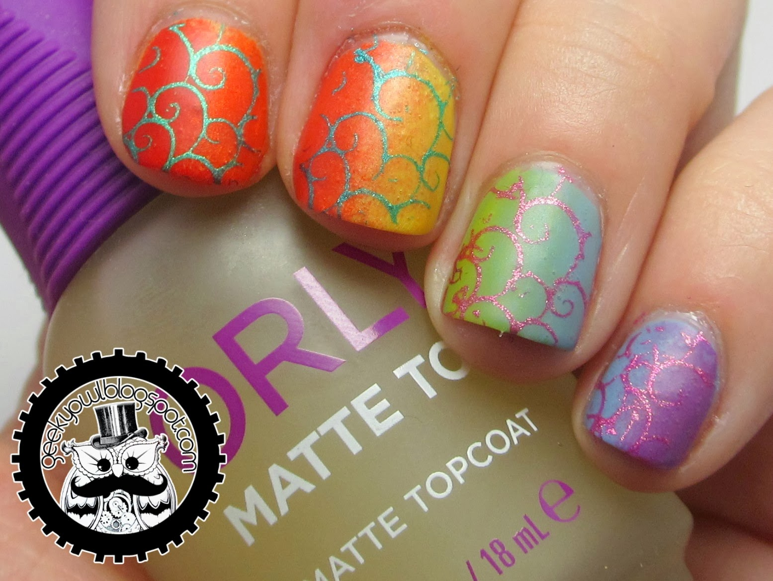 Geeky Owl: Nail-Art-A-Go-Go Challenge Day 3: Warm vs Cool