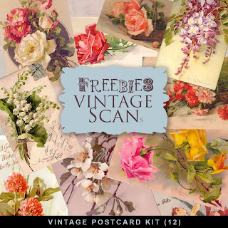 Freebies Vintage Flowers PostCards