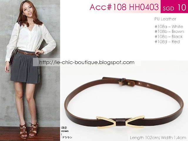 Acc#108 HH0403 Thin Metallic-Bow Belt
