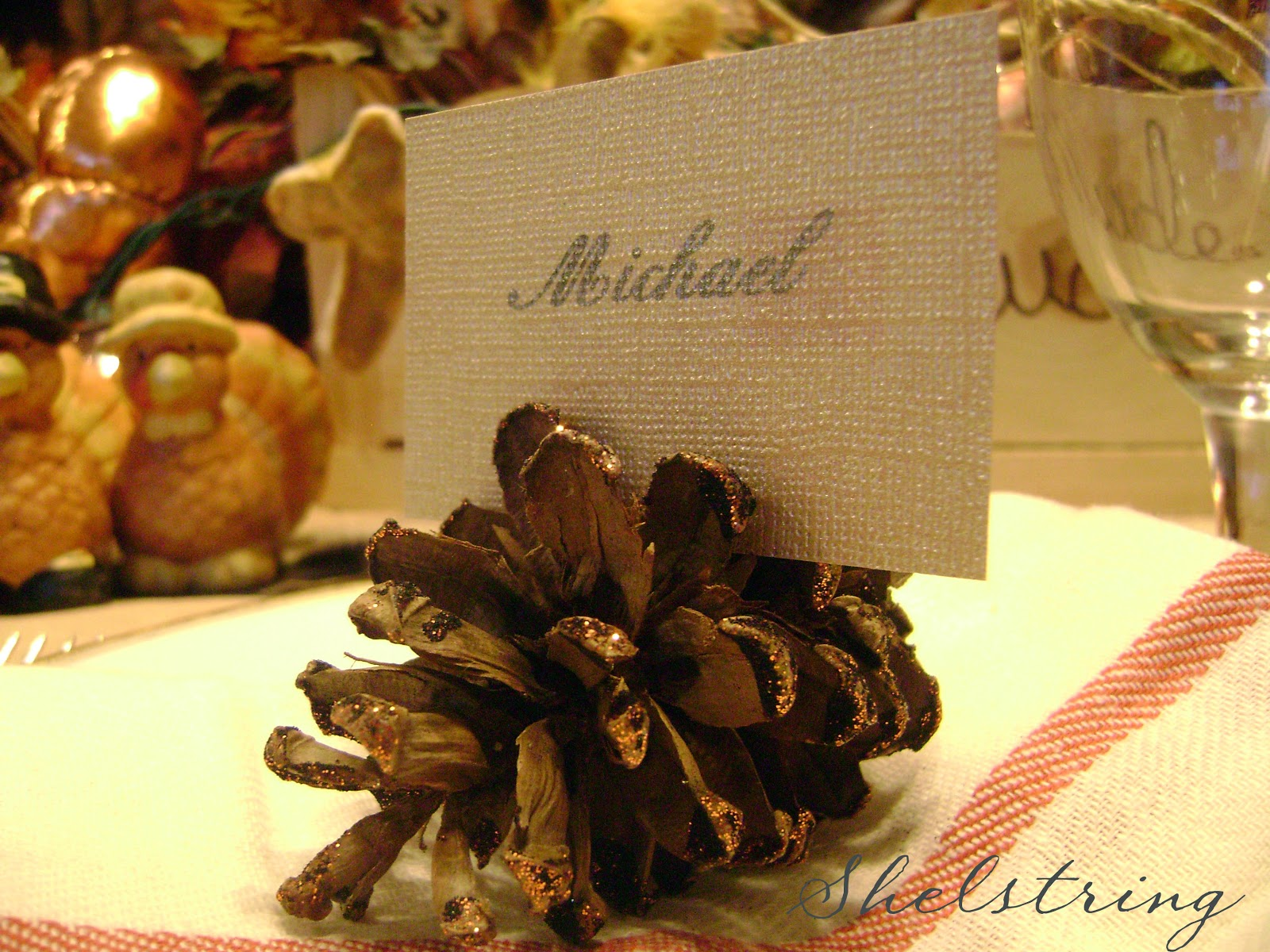 Pinecone Placecard Holders Shelstring Sugar Bee Crafts