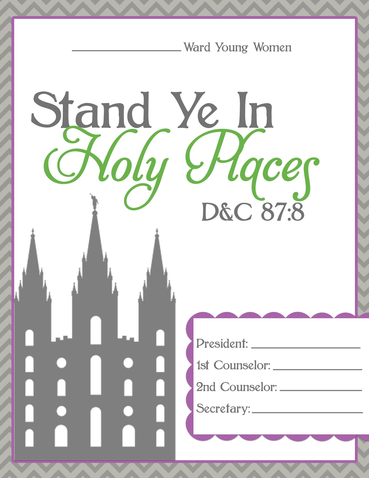 LDS Young Women Binder Covers
