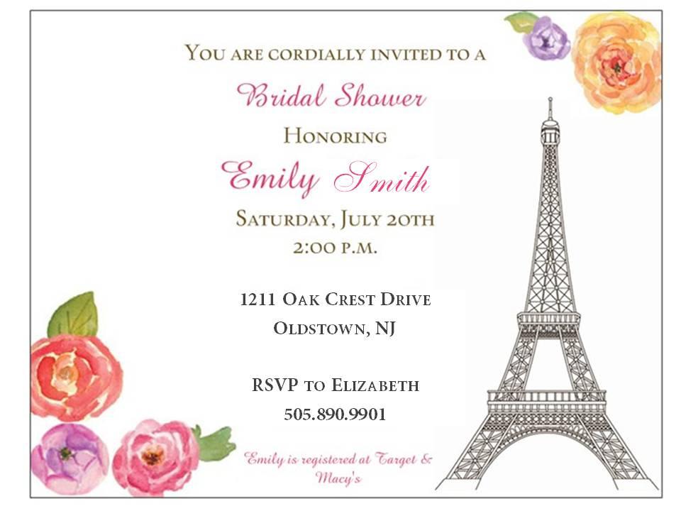 elle s  quelque choses que j'adore parisian bridal shower, Bridal shower invitations