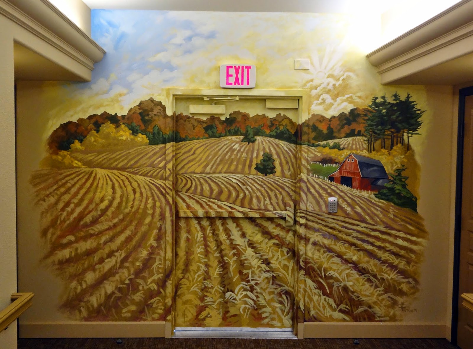 murals in memory care facilities, portland oregon muralist, farm mural, wheat fields mural