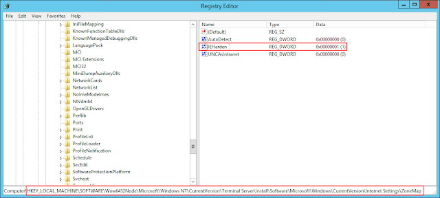 The problem registry setting...