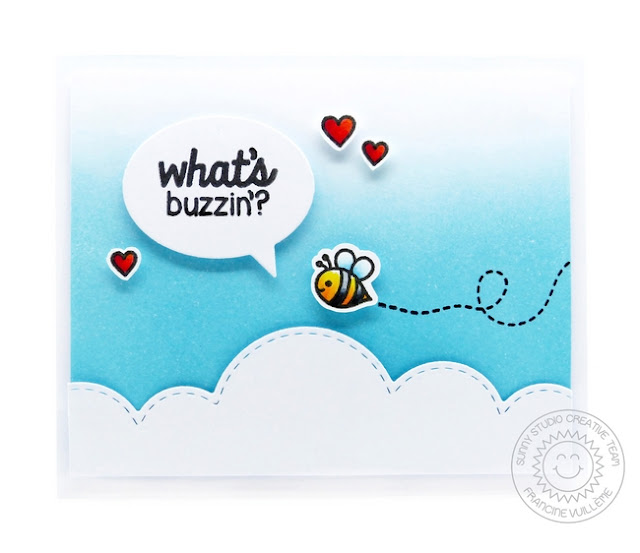 Sunny Studio Stamps CAS Bumblebee card by Francine Vuilleme (using Backyard Bugs stamp set)
