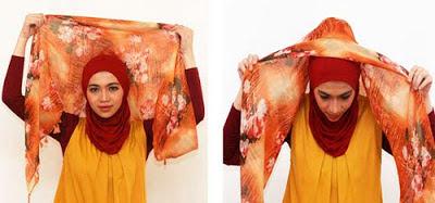 Cara memakai jilbab segitiga modern 1