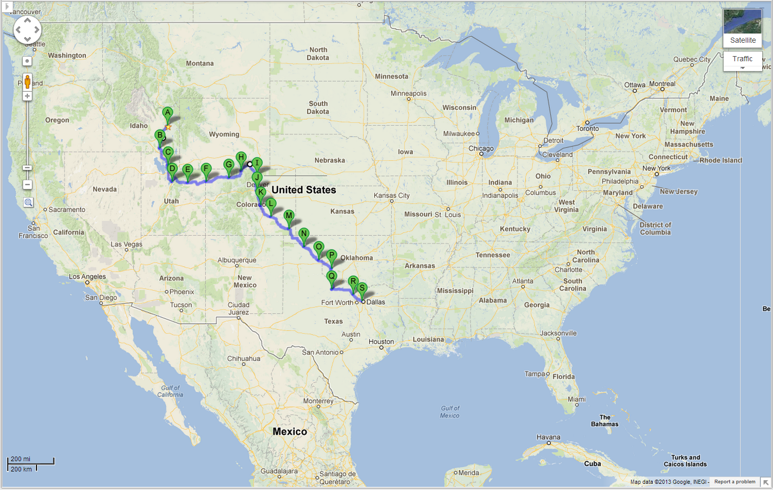 map of entire route 1800 miles google maps