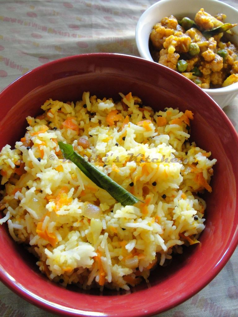Krithi's Kitchen: Carrot Rice | Indian Rice Recipes