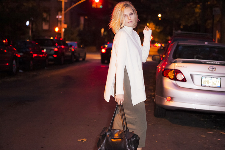Ann Taylor oversized turtleneck, Topshop dress, Cowboysbag black leather bag, messy blond bob, short hair, blonde, nighttime shoot, Brooklyn New York, Fashion Over Reason
