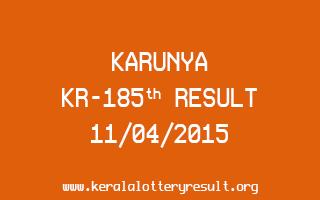 Karunya KR 185 Lottery Result 11-4-2015