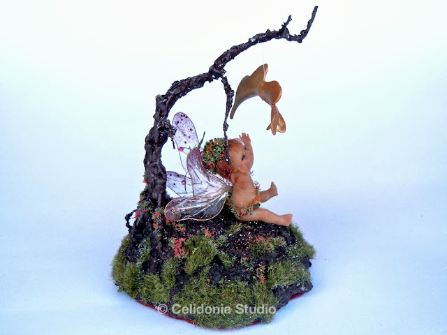 OOAK Baby Fairy with Autumn Leaf