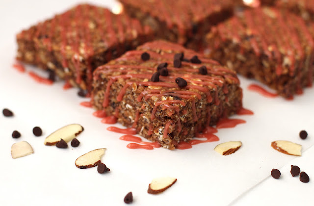 Healthy Chocolate Cherry Almond Krispy Treats with a Pomegranate Icing Drizzle
