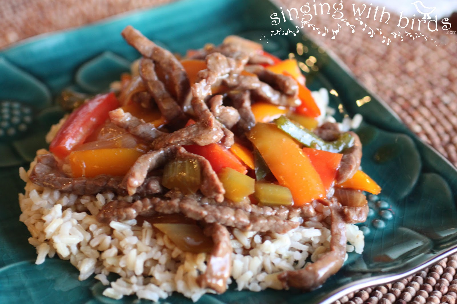 Pepper Steak sounded like an easy fix with brown steamed rice for ...