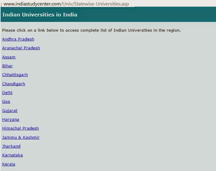 universities in India state wise