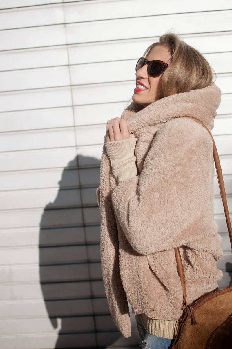 Teddy bear maxi coat