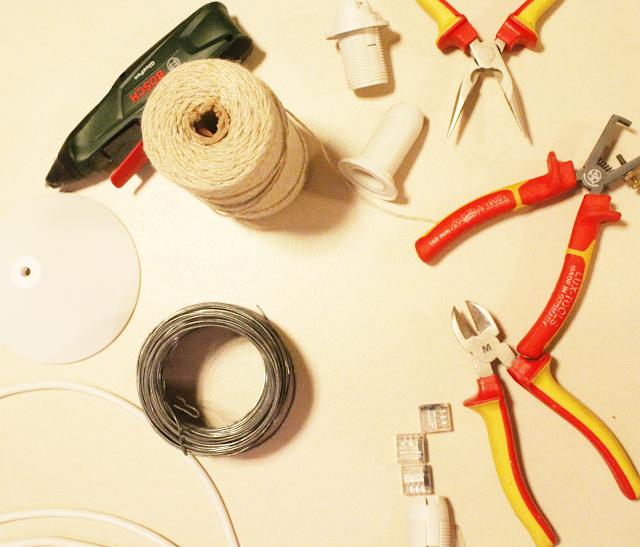 sznurek bawełniany,drut,jak zrobić lampę krok po kroku,DIY bosch