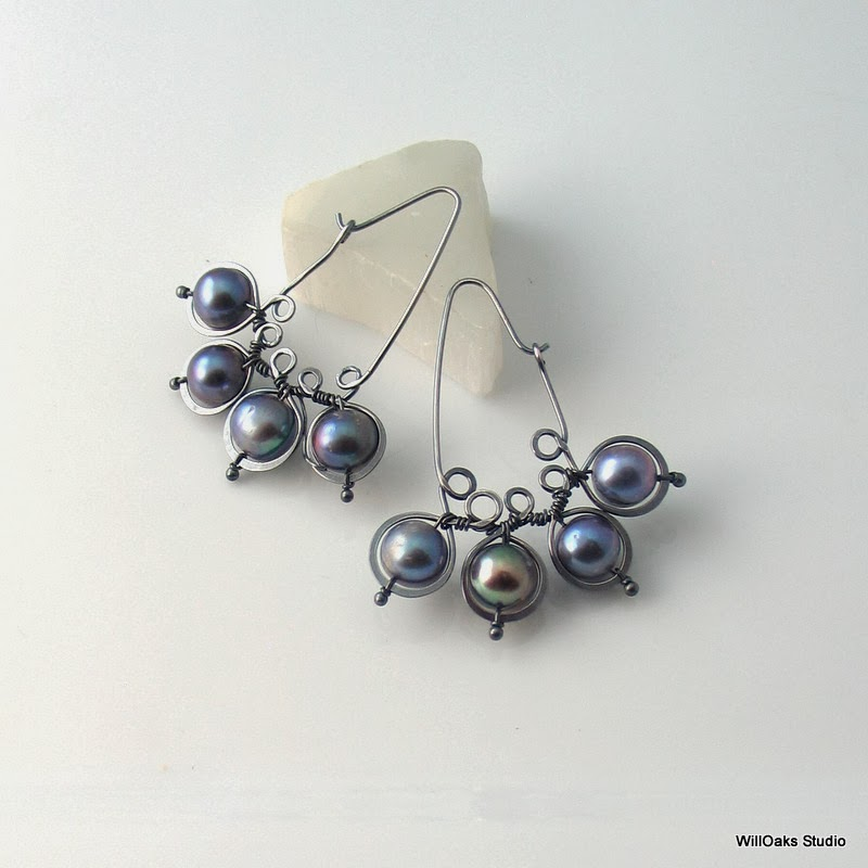 Silver gray pearls on hoop earrings