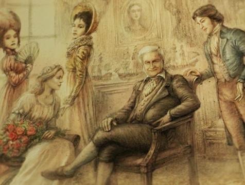 El mercader (André Dussollier) rodeado de sus hijos en su lujosa mansión, en La Bella y la Bestia - Cine de Escritor