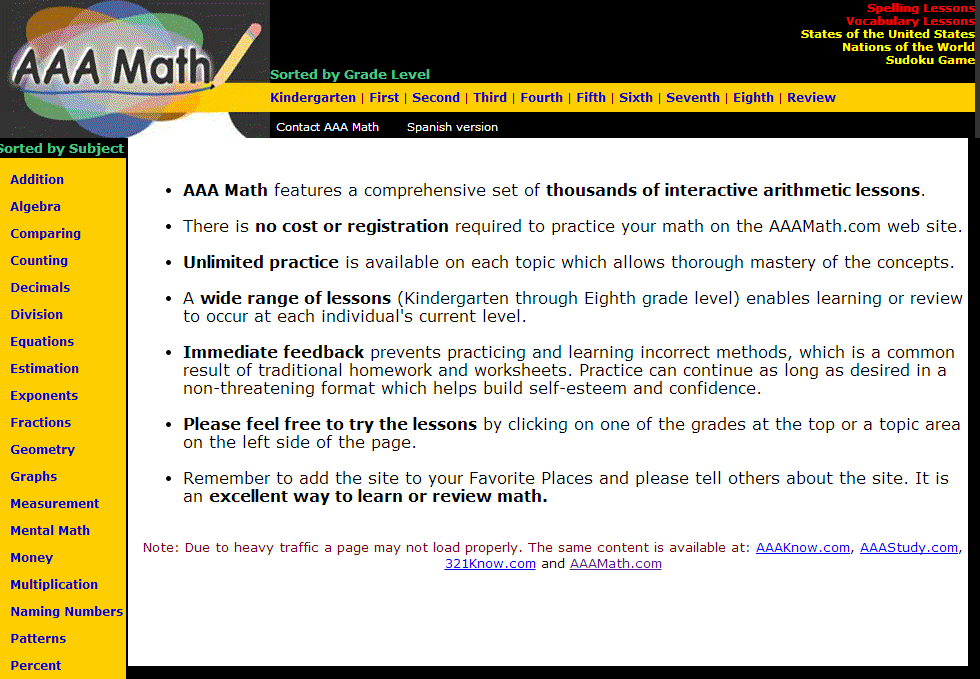 Worksheet Aaa Math Worksheets learning never stops 56 great math websites for students of any age to navigate the site you simply select topic or grade aaa makes an excellent resource students