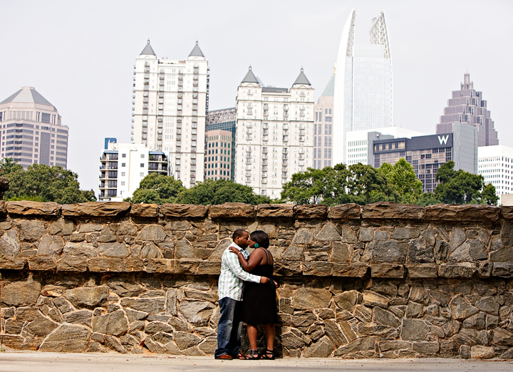 Atlanta Engagement photo kissing couple