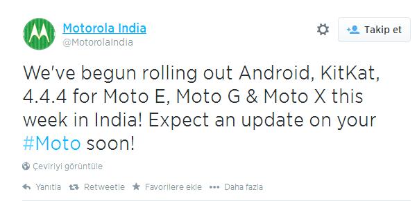 Motorola İçin Android 4.4.4 Güncellemesi