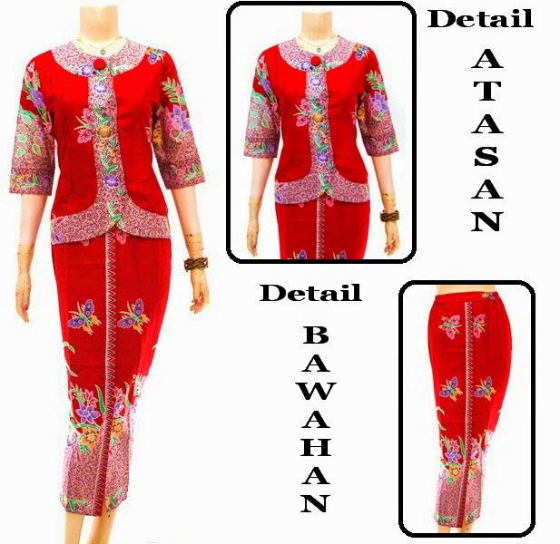 Busana Batik Muslim Dress Gamis Kupu Warna Merah