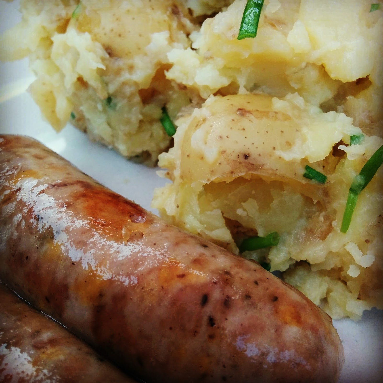 Roast Sausages with Crushed Potatoes