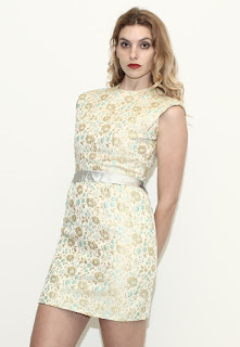 Vintage 1960's gold brocade mini shift sleeveless dress.