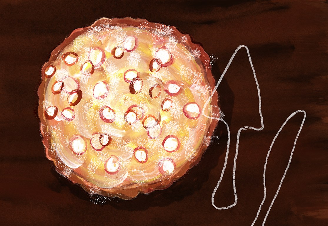 Pear Custard Tart Recipe, Shavuot, Lauren Monaco Illustration