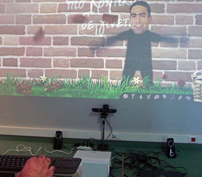 A Kinect game being played with a keyboard as an alternative access method.