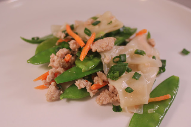 Deconstructed pork dumplings with snow peas