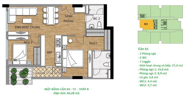 Căn hộ B3 diện tích 66,28 m2 tầng 3 Valencia Garden