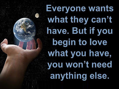 Everyone wants what they can't have. But if you begin to love what you have, you won't need anything else.