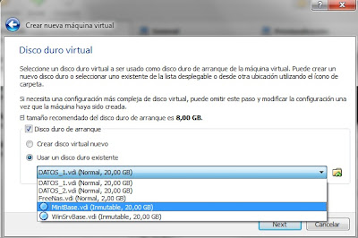 seleccion disco diferenciacion virtualbox