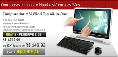 comctis Ctis Digital: PC MSI Wind Multi Touch Wide Screen à vista por R$ 1.619,10