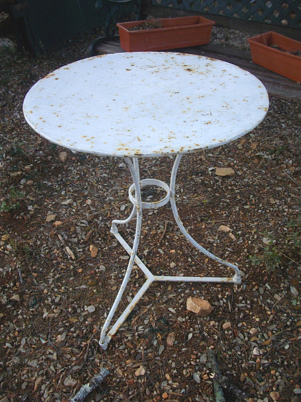 Salon De Jardin Teck Rectangulaire : ancien petit guéridon table salon de jardin en fer forgé  au fil du