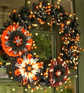 Giant Bow Halloween Wreath by 7 Layer Studio