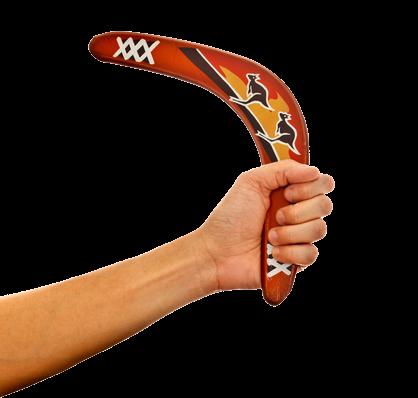 Image of: Australian boomerang in someone's hand.