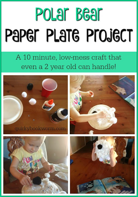 An Easy Polar Bear Paper Plate Project - a 10 minute low-mess craft that even a 2 year old can handle! I made this craft with my toddler, to go with our reading of In Arctic Waters. #raisingreaders