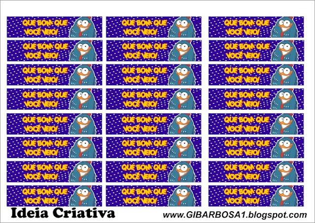 rótulo para mini garrafinhas Galinha Pintadinha para imprimir grátis