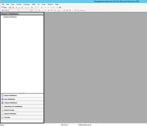 Screenshot of Empty Report Definitions in Management Reporter