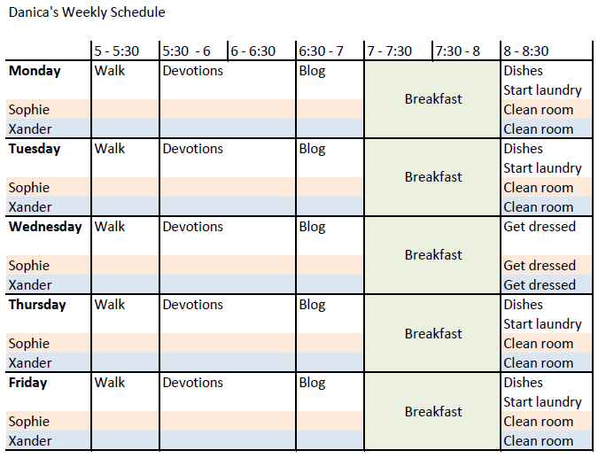 Ramblings of an Undercover TCK: 2012 Goals - Weekly Schedule