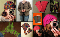 Various styles of hats, fingerless mittens, socks and a cardigan sweater.