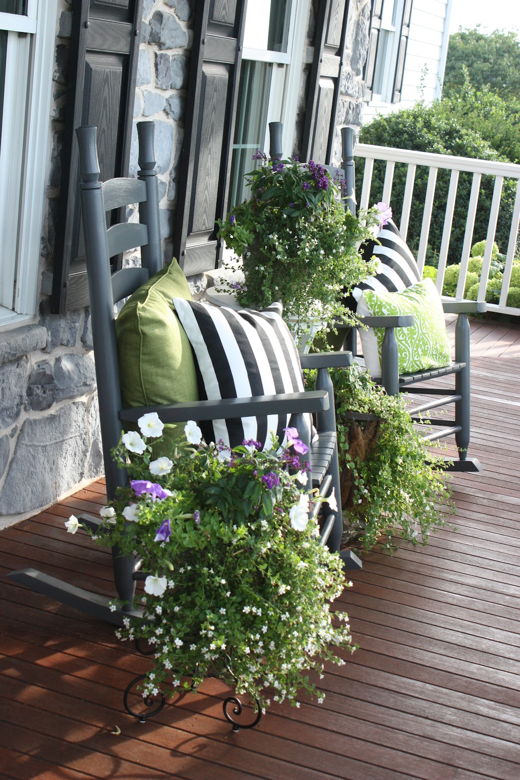 Front porch flowers stonegable for Front porch designs ideas
