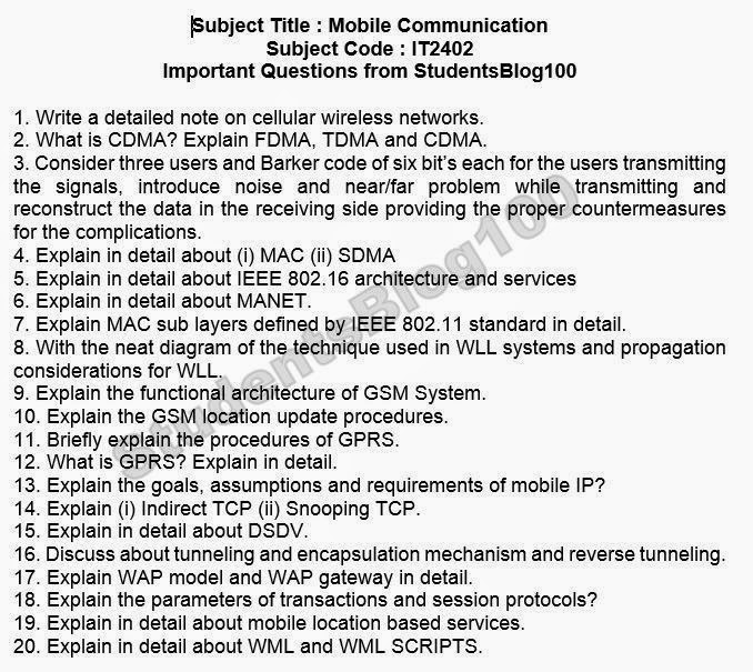 IT2402 Mobile Communication MC Important question for 7th semester IT
