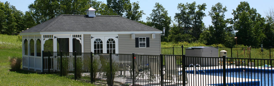 Outdoor and backyard pool house cabana designs for sale for Sheds with porches for sale